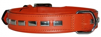COLLAR LEATHER RECTANGULAR NARANJA