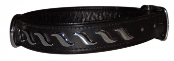 COLLAR LEATHER WAVES NEGRO