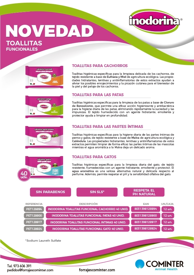 Novedad Inodorina Toallitas funcionales