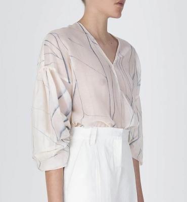 ALYSI Blusa de seda crudo con aguas
