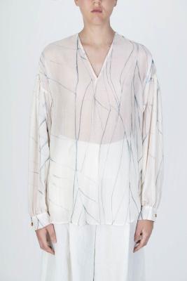 ALYSI Blusa de seda crudo con aguas - 2