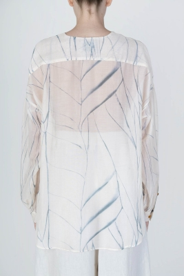 ALYSI Blusa de seda crudo con aguas - 3