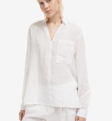 BLAUER Blusa blanca lino manga larba