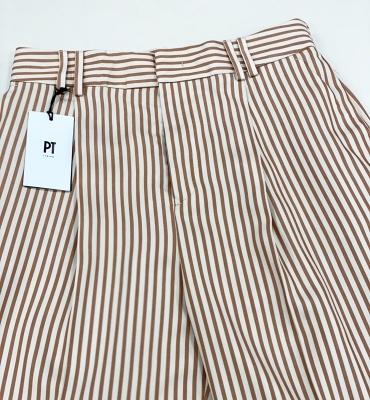 PT TORINO Pantalón ancho rayas color marrón
