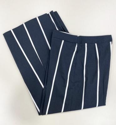 PT TORINO Pantalón ancho rayas blancas sobre azul marino - 2
