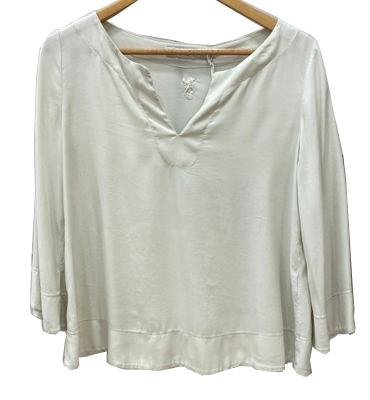EUROPEAN CULTURE  Blusa de seda color champán - 3