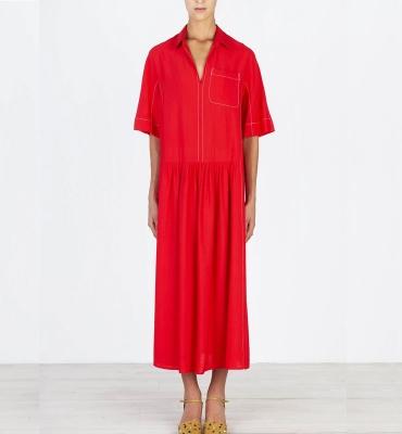 ALYSI Vestido largo rojo manga corta