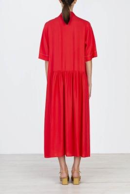 ALYSI Vestido largo rojo manga corta - 2