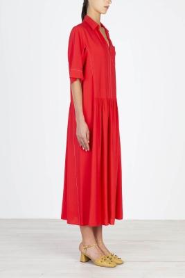 ALYSI Vestido largo rojo manga corta - 3