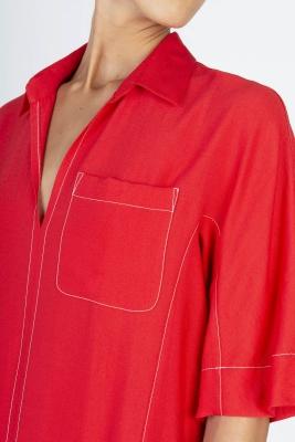 ALYSI Vestido largo rojo manga corta - 4