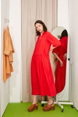 ALYSI Vestido largo rojo manga corta - 5