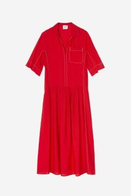 ALYSI Vestido largo rojo manga corta - 6