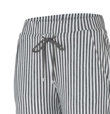 MAC JEANS Pantalones culotte rayas gris claro - 5
