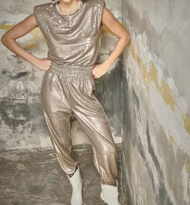 NOLITA Pantalón de lentejuelas color champán - 1