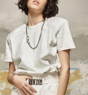 NOLITA Camiseta manga corta blanca y plateada con hombreras - 1