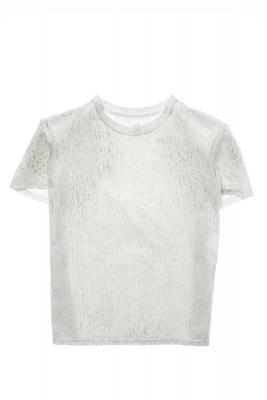 NOLITA Camiseta manga corta blanca y plateada con hombreras - 2