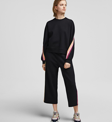 KARL LAGERFELD Pantalón chándal negro con cinta a rayas y logotipo