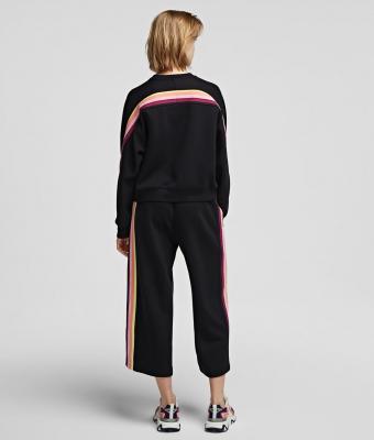 KARL LAGERFELD Pantalón chándal negro con cinta a rayas y logotipo - 2