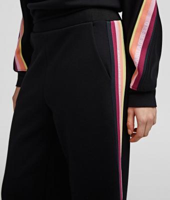 KARL LAGERFELD Pantalón chándal negro con cinta a rayas y logotipo - 4