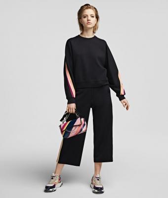 KARL LAGERFELD Pantalón chándal negro con cinta a rayas y logotipo - 5
