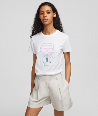 KARL LAGERFELD Camiseta blanca con logo diseñador Ikonik - 2