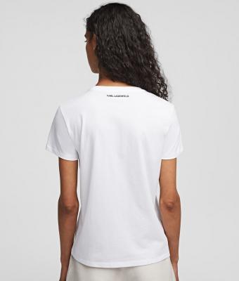KARL LAGERFELD Camiseta blanca con logo diseñador Ikonik - 3