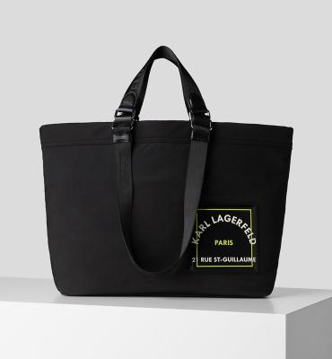 KARL LAGERFELD Bolsa de viaje negra con logo Rue St Guillaume