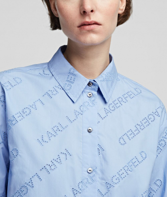 KARL LAGERFELD Camisa oversize tipo túnica con logotipo de Karl - 8