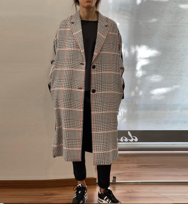 KARL LAGERFELD Abrigo de cuadros espalda contraste - 1