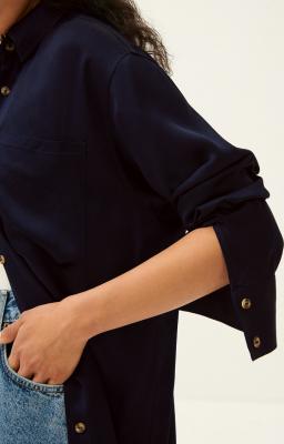 AMERICAN VINTAGE Camisa azul marino manga larga - 3