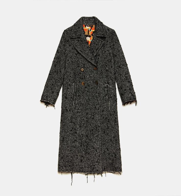 MALÌPARMI Abrigo Herringbone Wool blanco y negro -