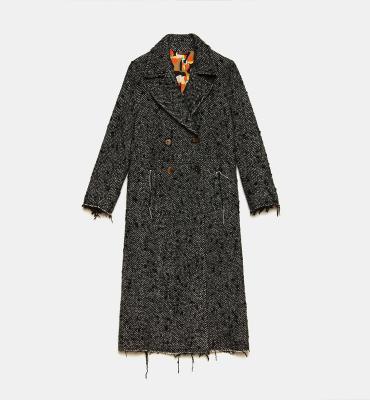 MALÌPARMI Abrigo Herringbone Wool blanco y negro