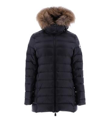 JOTT  Abrigo plumífero negro con capucha con pelo