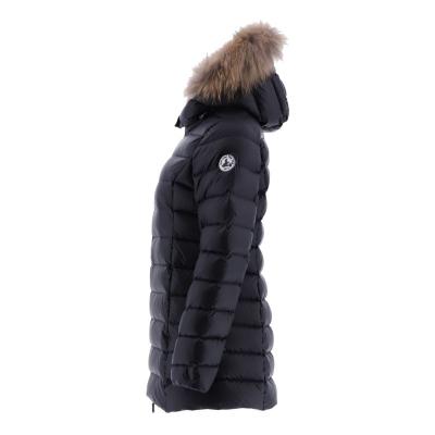 JOTT  Abrigo plumífero negro con capucha con pelo - 3