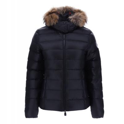 JOTT  Abrigo plumífero negro corto con capucha con pelo - 2