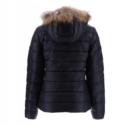 JOTT  Abrigo plumífero negro corto con capucha con pelo - 3