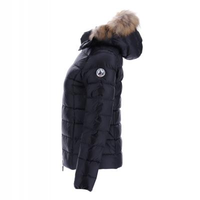 JOTT  Abrigo plumífero negro corto con capucha con pelo - 4