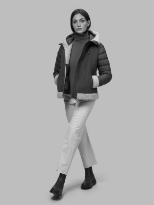 BLAUER Chaqueta de ante negra con capucha Lorraine - 3