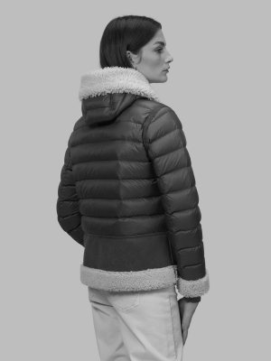 BLAUER Chaqueta de ante negra con capucha Lorraine - 4