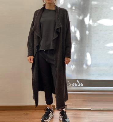 ALYSI Abrigo largo gris oscuro con grandes solapas