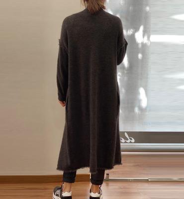 ALYSI Abrigo largo gris oscuro con grandes solapas - 2
