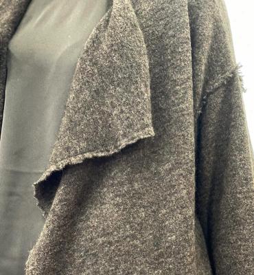 ALYSI Abrigo largo gris oscuro con grandes solapas - 3