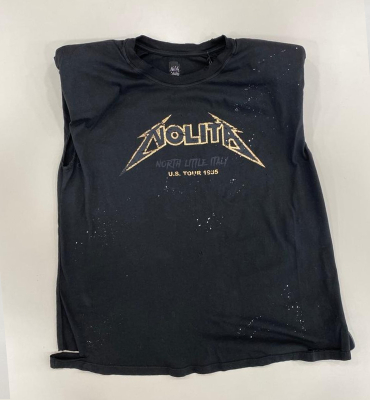 NOLITA Camiseta sin mangas negro desgastado con logo