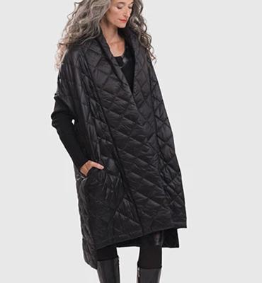 ALEMBIKA Abrigo negro asimétrico