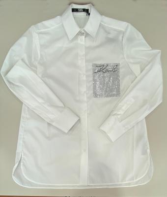 KARL LAGERFELD Camisa blanca con strass en el bolsillo delantero