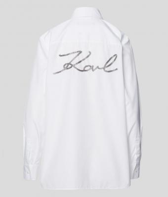 KARL LAGERFELD Camisa blanca de popelina con adornos - 2