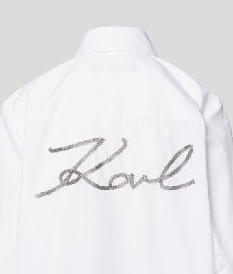KARL LAGERFELD Camisa blanca de popelina con adornos - 3