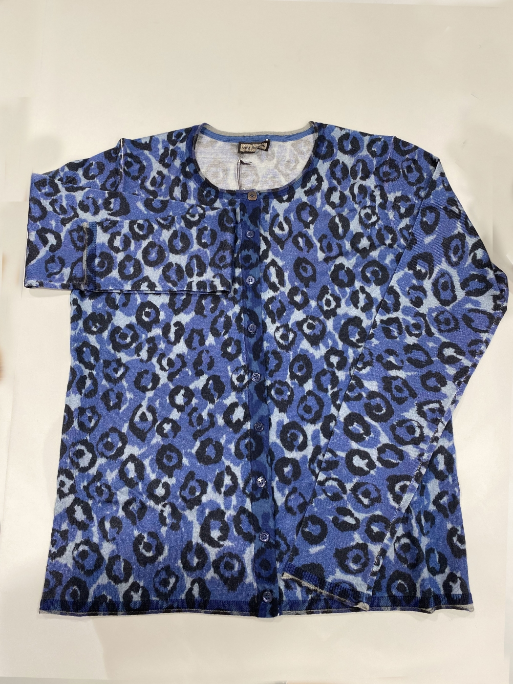 MALÌPARMI Chaqueta de algodón estampado leopardo azul -
