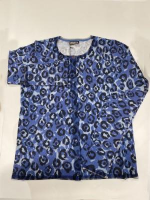MALÌPARMI Chaqueta de algodón estampado leopardo azul
