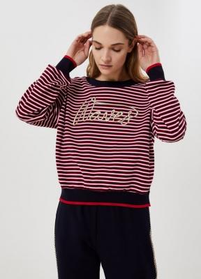 LIU JO jersey rayas marineras rojo y azul marino - 3